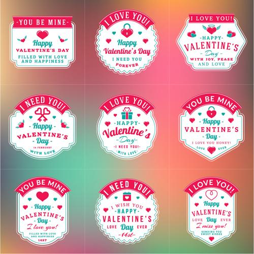 Vintage valentines day labels vector set 01 free download