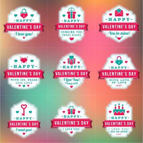 Vintage valentines day labels vector set 03 free download