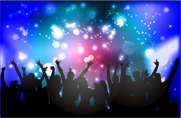 Free Xmas Wallpapers Animated People Silhouette With Disco Party Poster Vector 01
