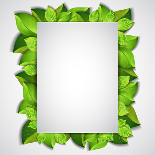 Green leaves frame vectors set 03 free download