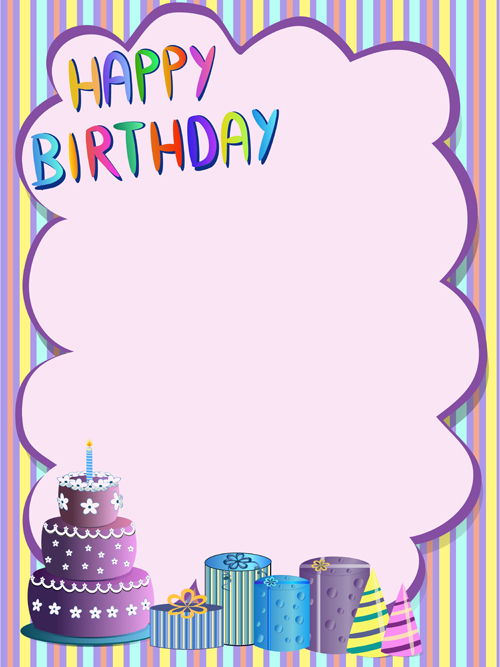 Cute happy birthday greeting card vector 01 free download