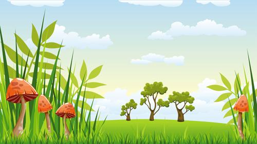Free Animated Fall Wallpaper Cartoon Mushrooms With Nature Scenery Vector 02 Vector