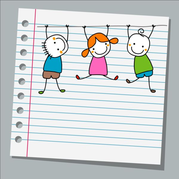 Notebook paper with kids vector material 03 free download - notebook paper download