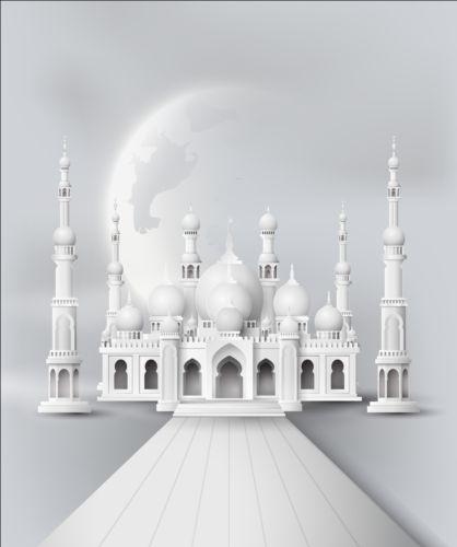 Eid Mubarak Wallpaper 3d White Mosque With Moon Background Vector Vector