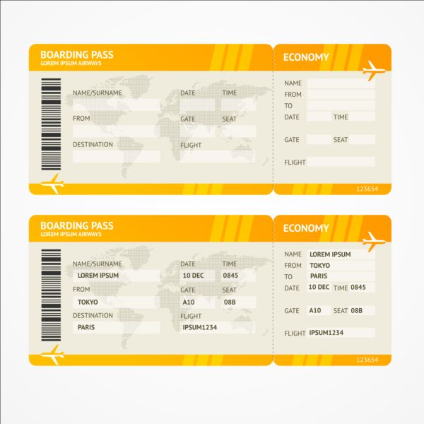 Airline tickets template design vector 03 free download - plane ticket invitation template