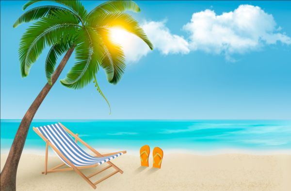 Beach Chair And Palms Tree With Travel Background Vector