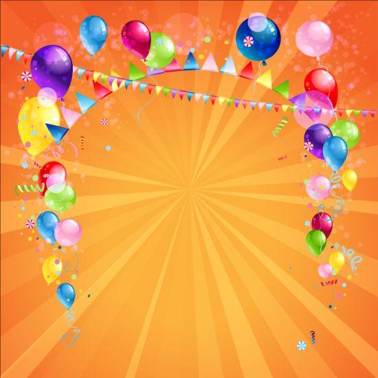 Emoticons Cute Wallpaper Bright Birthday Background Design Vector 04 Vector