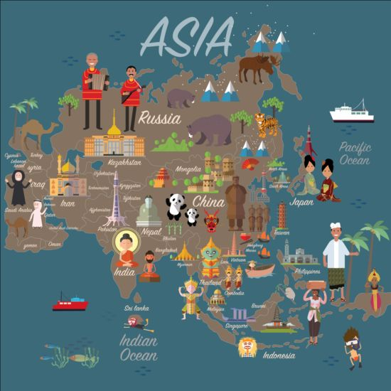 Emoticons Cute Wallpaper Asia Map With Infographic Vector Free Download