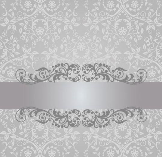 Floral damask vintage invitation background vector 02 free download