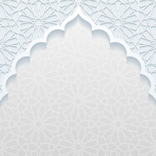 3d Geometric Shapes Wallpaper White Mosque Outline White Background Vector 02 Free Download