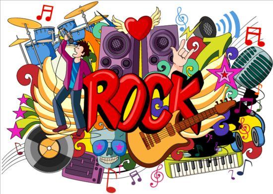 3d Dance Wallpaper Rock Music Doodle Vector Illustration Free Download