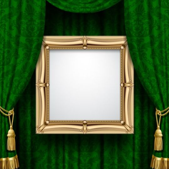 Green curtain with photo frame vector free download
