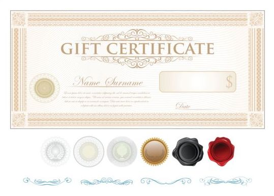 Light colored gift certificate template vector 04 free download