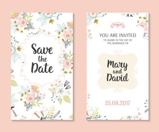 Wedding invitation card template with floral vectors 01 free download - wedding template