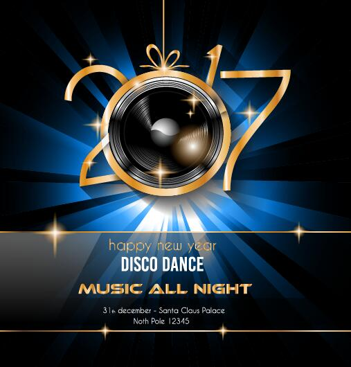 2017 new year disco party flyer template vector free download - new year poster template