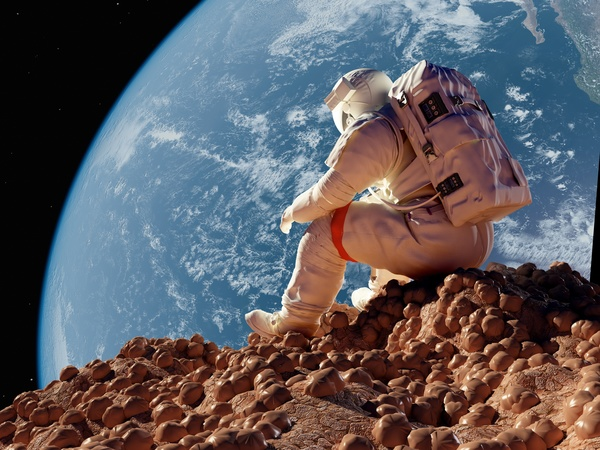 3d Emoticons Wallpapers Astronauts Sitting On The Moon Watching The Earth Free