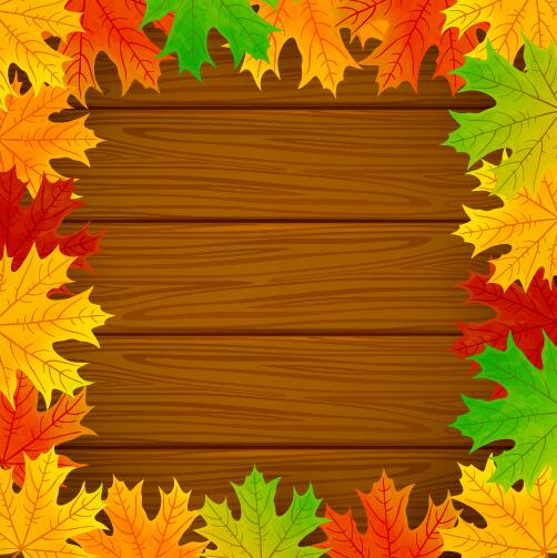Hd Wallpaper Texture Fall Harvest Autumn Leaves Frame With Wooden Background Vector 01 Free
