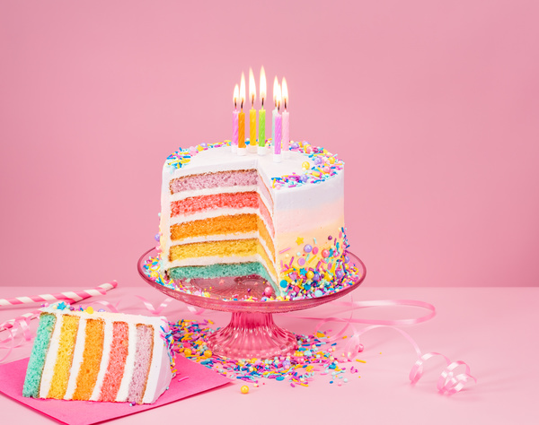 3d Emoticons Wallpapers Birthday Cake With Candles And Pink Background Free Download