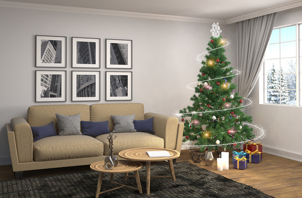 Elegant living room with Christmas tree HD picture 13 free download
