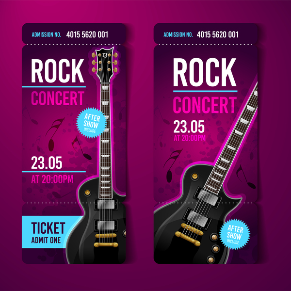 Rock concert tickets template vector 01 free download