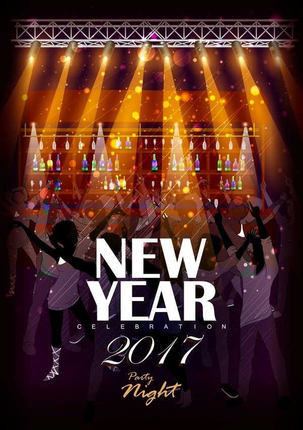 2017 new year night party poster template vectors 06 free download - new year poster template