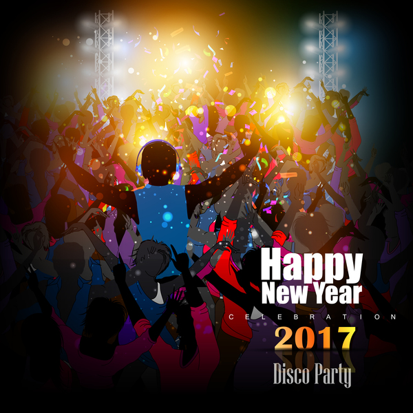 2017 new year night party poster template vectors 11 - Vector - new year poster template