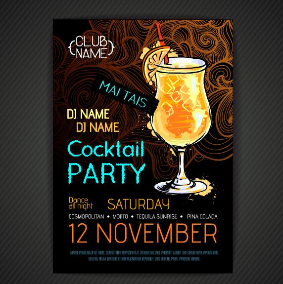 Cocktail party poster and flyer template vector 15 free download