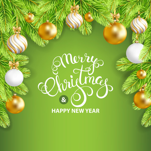 Merry christmas with new year green styles background vector free