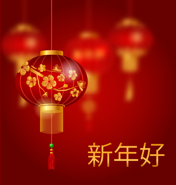 lantern with chinese new year red background vector 04 free download