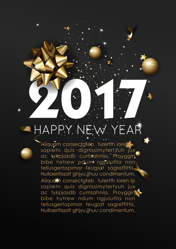 Dark styles happy new year 2017 poster template vector 02 free download - new year poster template