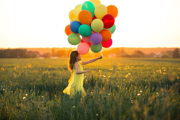 3d Cartoon Girl Wallpapers Little Girl With Balloons Stock Photo Free Download