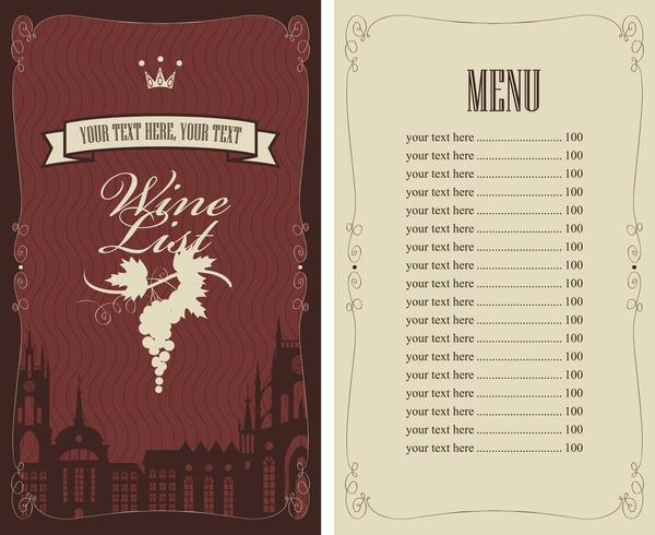 Wine menu list template vector material 09 free download