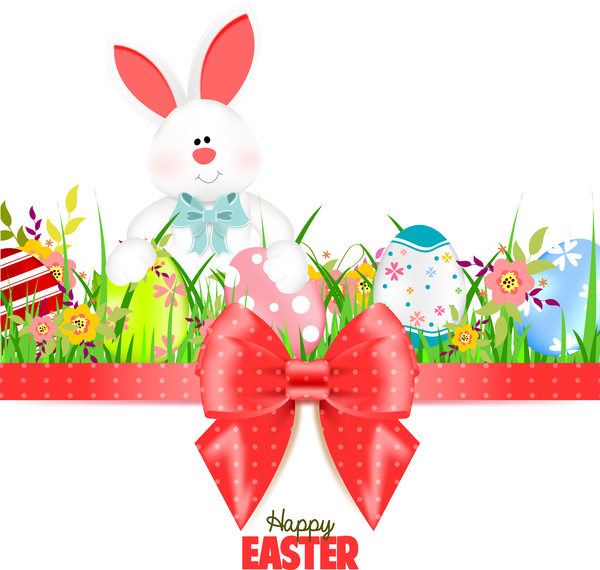 Bunny with easter card template and ribbon bow vector 03 free download