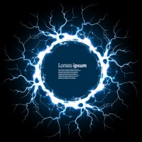 Circle with lightning and blue background vector - Vector ...