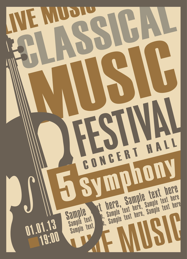 Classical music retro concert poster template 01 free download