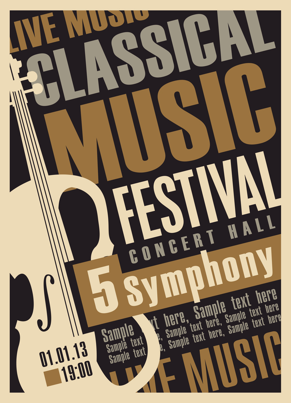 Classical music retro concert poster template 04 free download