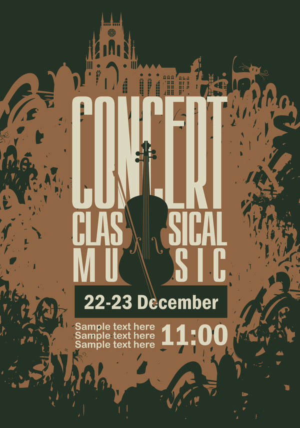 Classical music retro concert poster template 06 free download