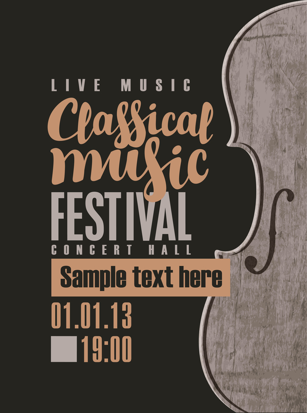 Classical music retro concert poster template 08 free download