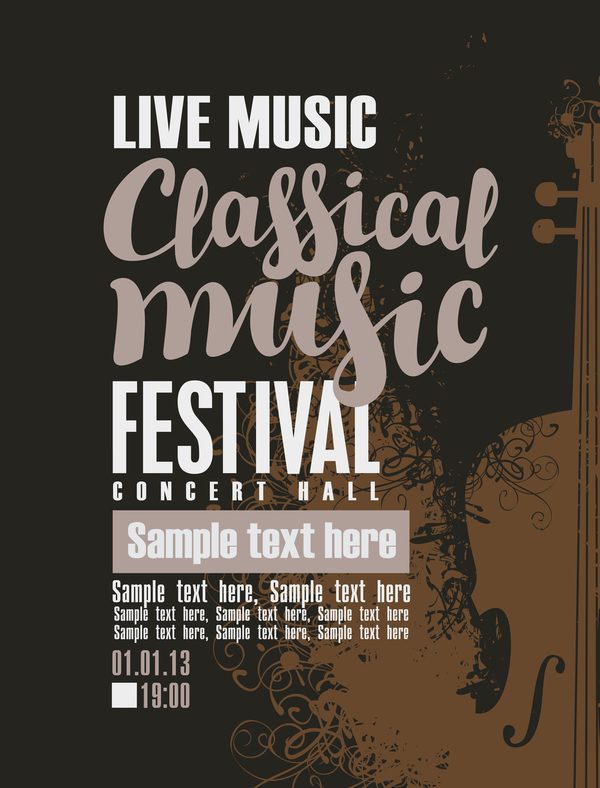 Classical music retro concert poster template 11 free download