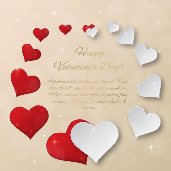 Heart frame valentine day cards vectors template free download