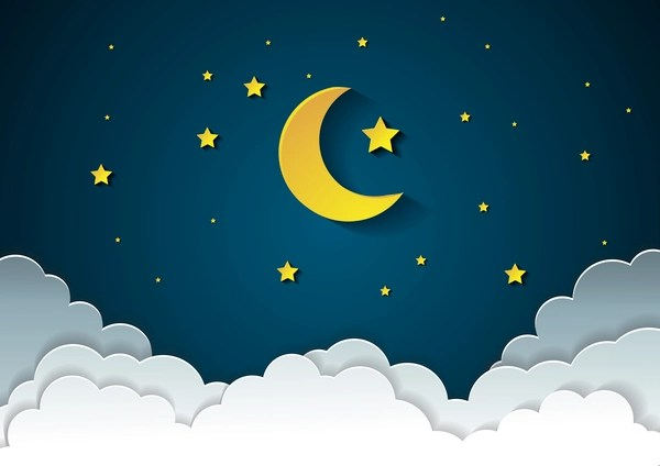 Blue Sky 3d Wallpaper Moon With Stars And Cloud In Nightime Cartoon Vector Free