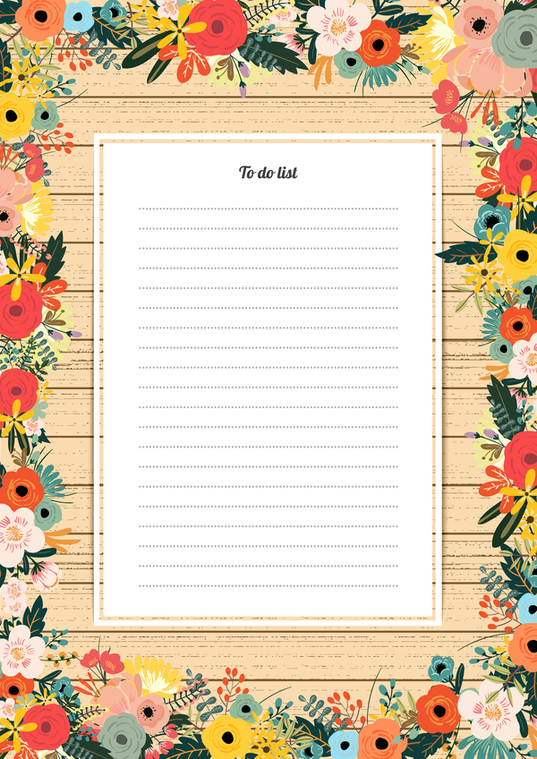 Blank paper with flower background vector 04 free download