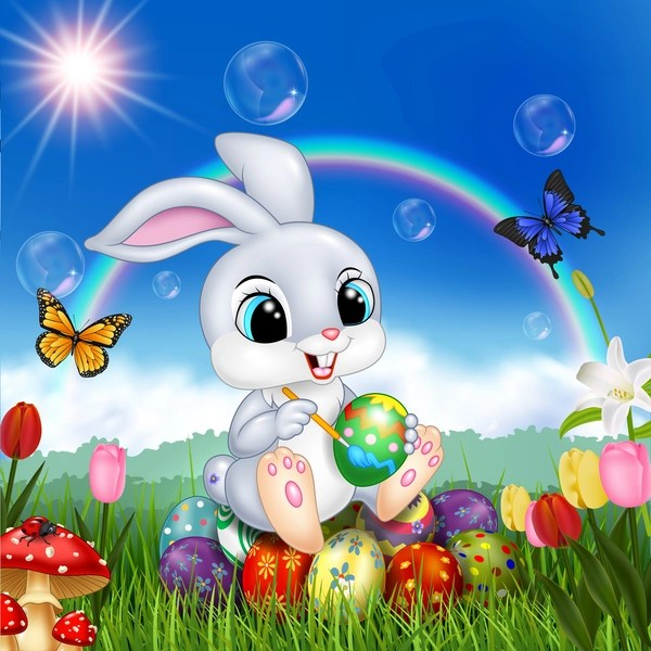 Animated Happy Birthday Wallpaper Free Download Cute Bunny Easter Background With Rainbow Vector 07 Free