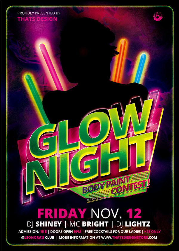 Glow Night Party Flyer Psd Template free download - party flyer