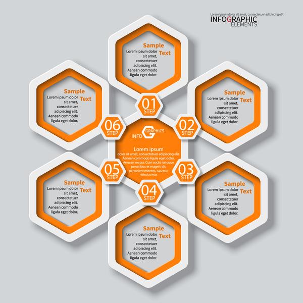 Honeycomb business infographics template vectors set 15 free download