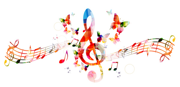 Notes and butterflies music background vector 05 free download