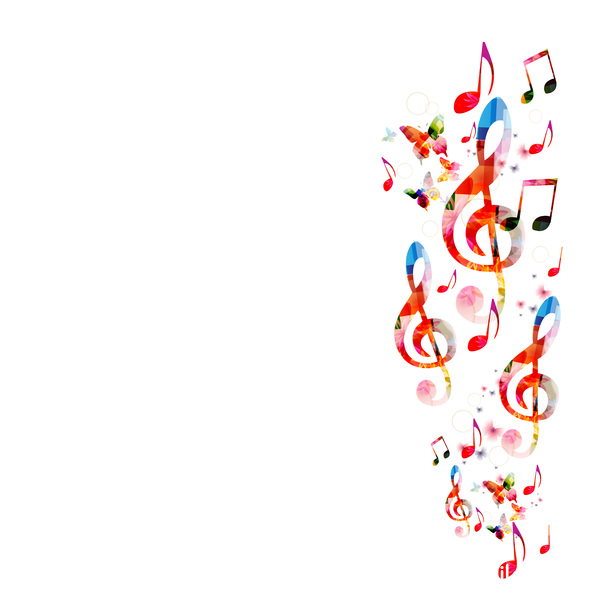 Notes and butterflies music background vector 09 free download