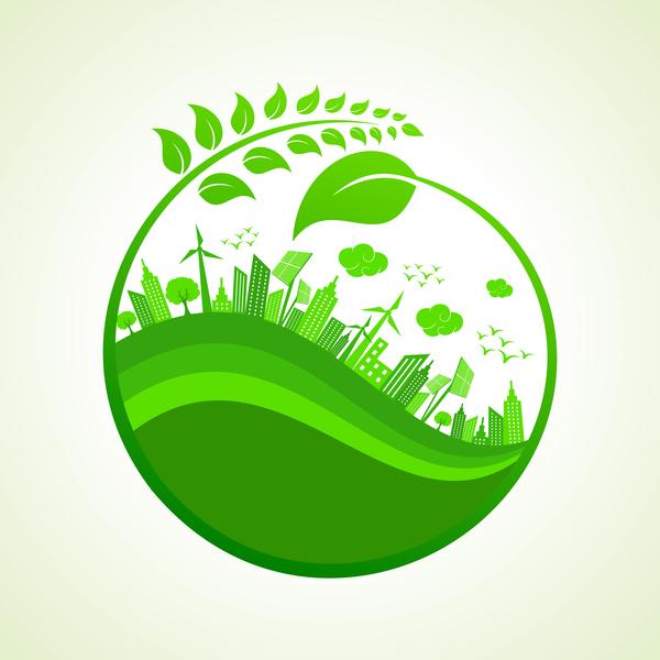 Green City 3d Wallpaper City Environment Eco Design Vector Vector Architecture