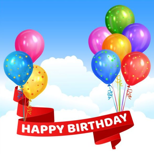 Happy birthday red ribbon with colored balloon vector free download