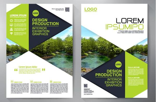 Green business flyer vector template 04 free download